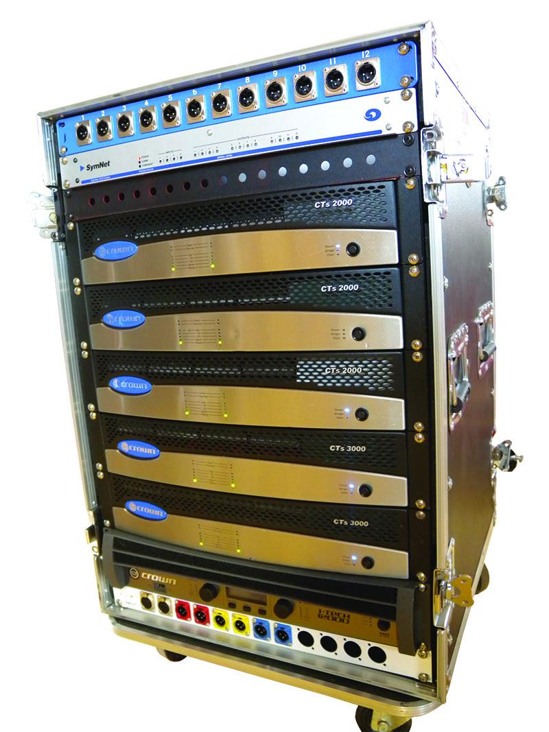 Rack of Crown amplifiers