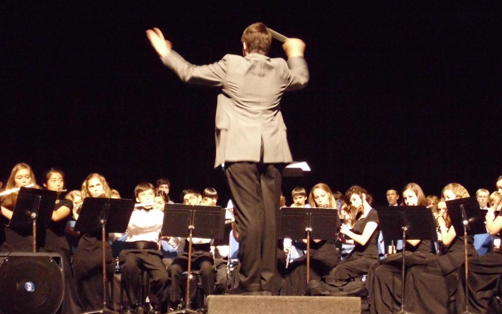 Grant, age 14, conducting the Hampton Cove Middle School Band (Hampton Cove, AL) – 2009