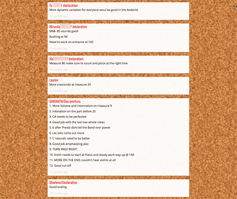 After listening to a performance, students can post their comments via the Padlet app.
