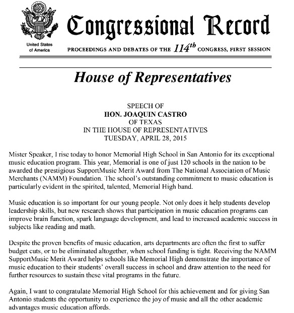 Speech of Hon. Joaquin Castro of TX to the House of Representatives