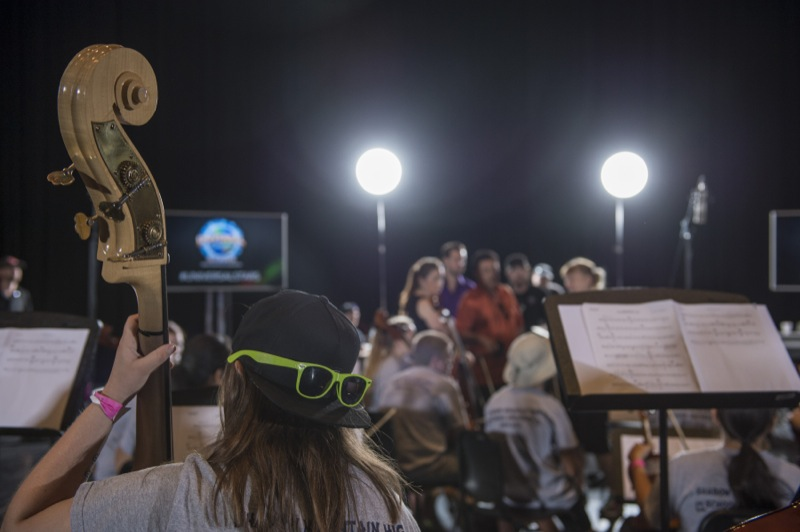 The Shadow Mountain & Paradise Valley High School Orchestra learned how to score an actual movie scene during the Sound Design: Music and the Art of Foley workshop.