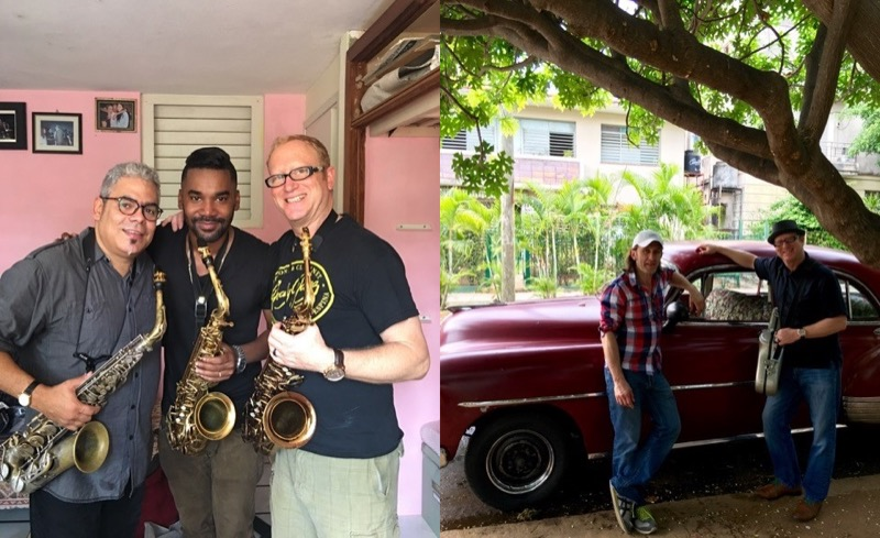 On left, Jody with Cesar Lopez (left) and Michel Herrera (middle). On right, Jody with his friend and guide Yves Pragerand one of Havana's famous classic vintage cars.