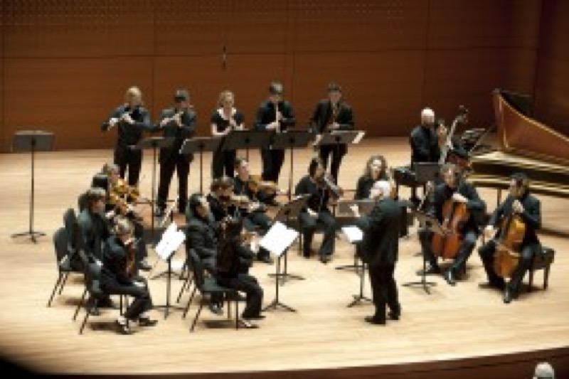 Juilliard415 and conductor Ton Koopman (photo by Nan Melville)