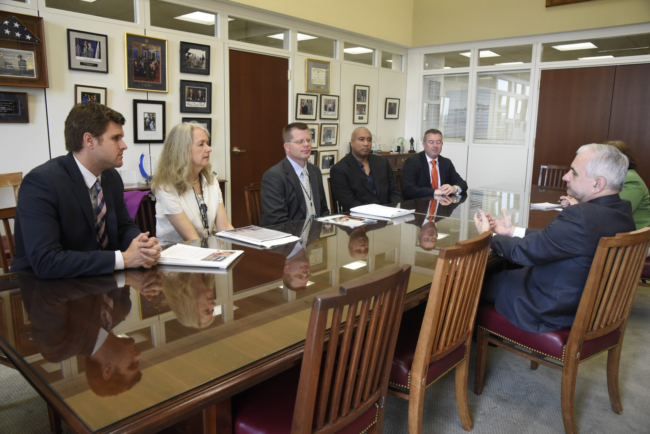 Bernie Williams with other members of NAMM meet with Sen. Jack Reed (D-RI) during the NAMM, CMA(Country Music Association) and VH1 Music Advocacy Day in US Capitol on May 25, 2016 in Washington D.C.