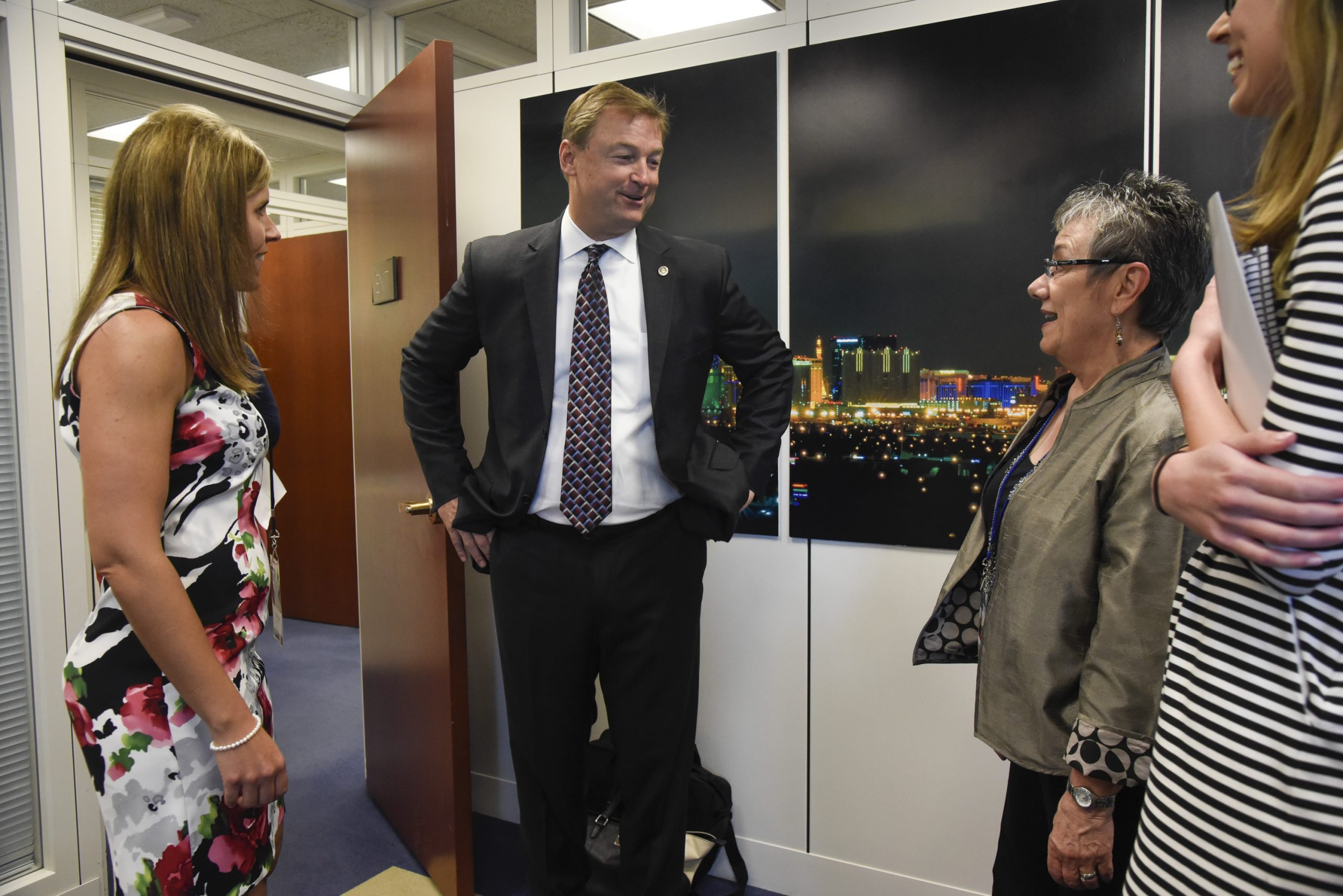 Stacy Clark and Marcia Neel of NAMM meet with Sen. Dean Heller (R-NV) during the NAMM, CMA and VH1 Music Advocacy Day in the U.S. Capitol on May 25, 2016 in Washington, D.C.