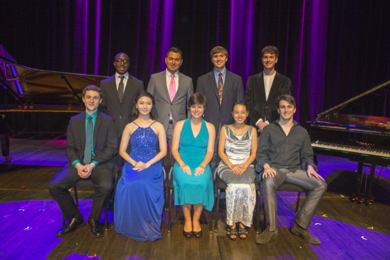 Cap: L to R: Back Row:  Paul Cornish, Federico Montes, John Paul Powers and Henry Solomon   L to R: Front Row: Justin Sales, Hyerin Kim, Ivy Ringel, Rebekah Ko, and Wickliffe Simmons