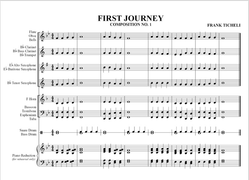 "The first musical composition in the book, ""First Journey"". uses just the three notes learned in Lesson 1."