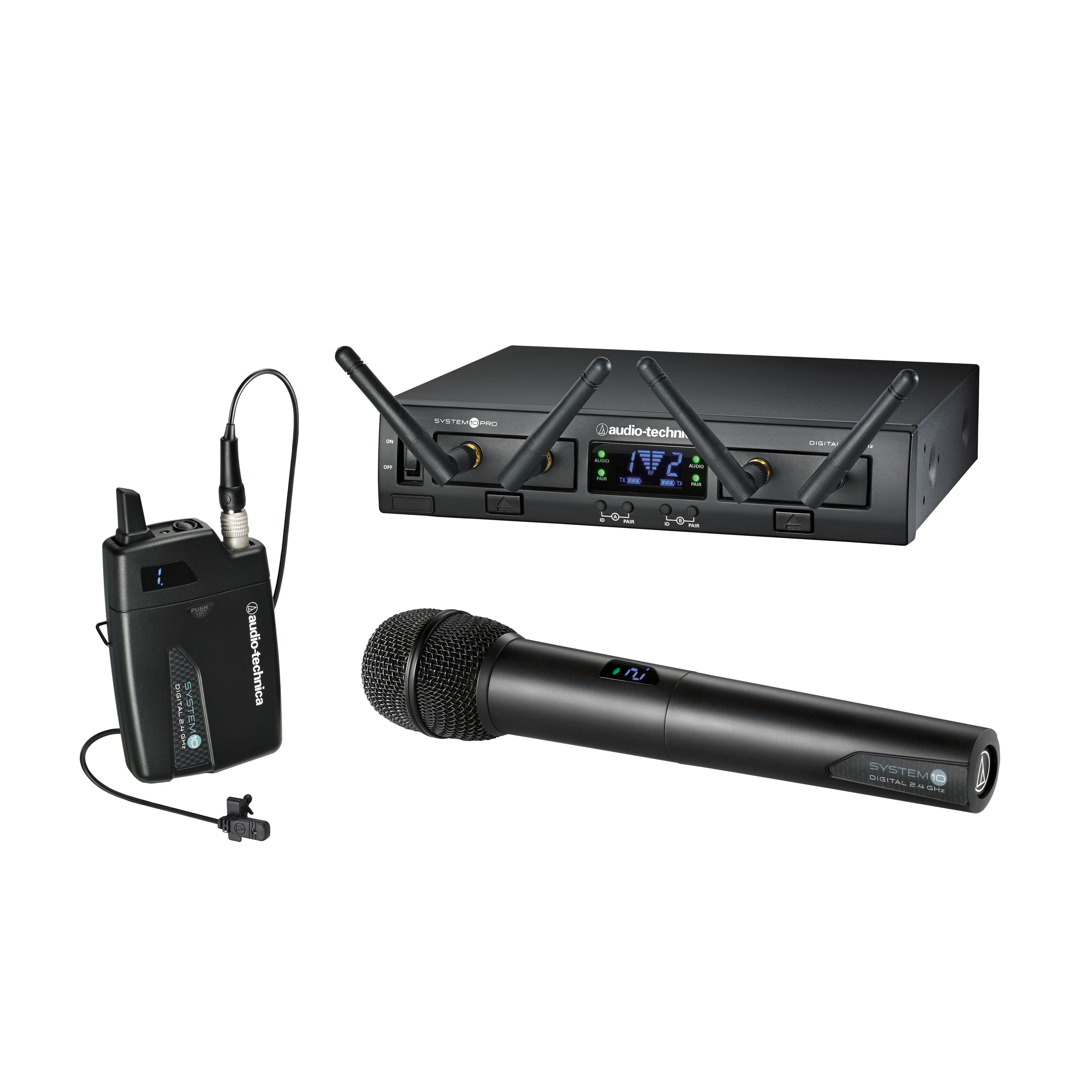 Audio-Technica System 10 Pro Digital Wireless components, as used by students at Nashville's Hull Jackson Montessori Magnet School. Pictured are ATW-RC13 Rack-mount receiver chassis, ATW-RU13x2 receiver unit, ATW-T1002 handheld dynamic unidirectional microphone/transmitter and ATW-T1001 UniPak® transmitter with MT830cW lavalier microphone.