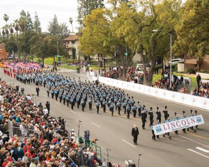 """The Sioux Falls Lincoln """"Patriot"""" Marching Band (Sioux Falls,  South Dakota) performs at the 2013 Rose Parade."""