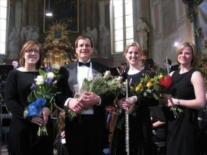 BG orchestra director Elizabeth Bennett, Ed Jacobi, student teacher Emma Burrows of the University of Illinois, and BG choir director Debora Utley after a concert at the Church of St. Simon and St. Jude in Prague, March, 2010.